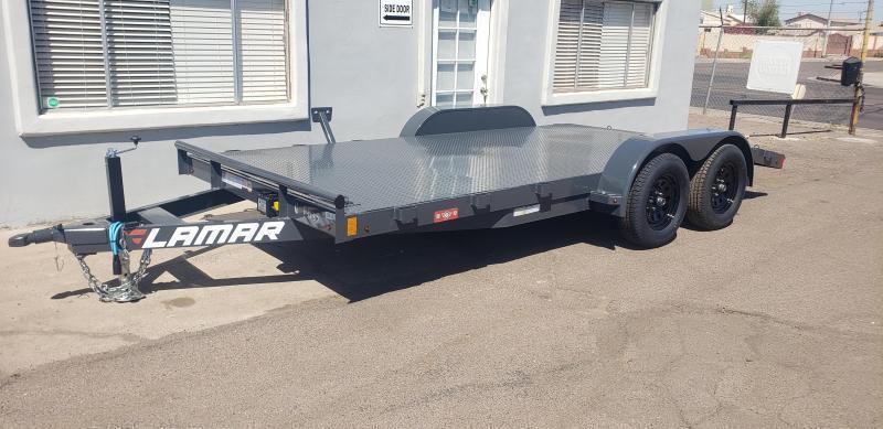 2021 Lamar CE-3.5k-16 Car steel deck  / Open Car Trailers-Steel deck- 7000# GVWR- D-rings-7k drop foot jack - ramps**Cash Discounts available- See below***