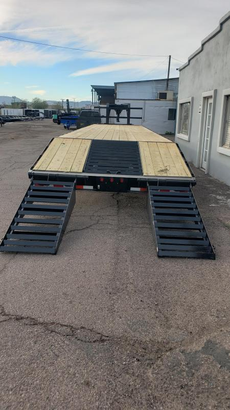 2020 High Desert Trailers Flatbed Gooseneck-12k Dexter axles-25900 GVWR- Lay flat Ramps with Center Pop up.