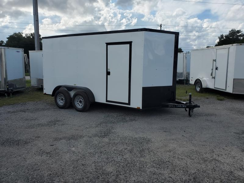 7X14 TANDEM AXLE ADMIRAL SERIES WHITE/ BLACK OUT PACKAGE