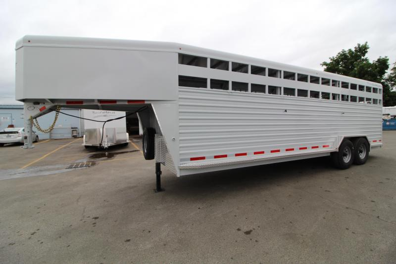 "2021 Trails West Hotshot 24' Stock Trailer- 7'6"" Wide-Dual Cut Gates-54"" Side Door-Slider in Rear"