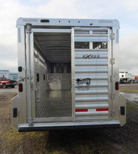 2021 Exiss 24' Stock Trailer-All Aluminum-Slider in Rear-Two Cut Gates-Escape Door