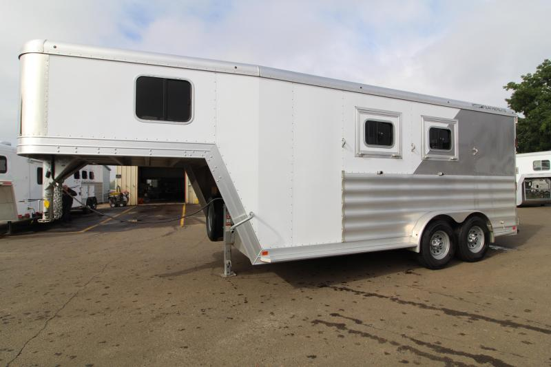 "Lightly Used 2019 Featherlite 2 Horse Trailer-Warmblood Size Stalls-7'6"" Wide-7'6"" Tall-Easy Care Floor"