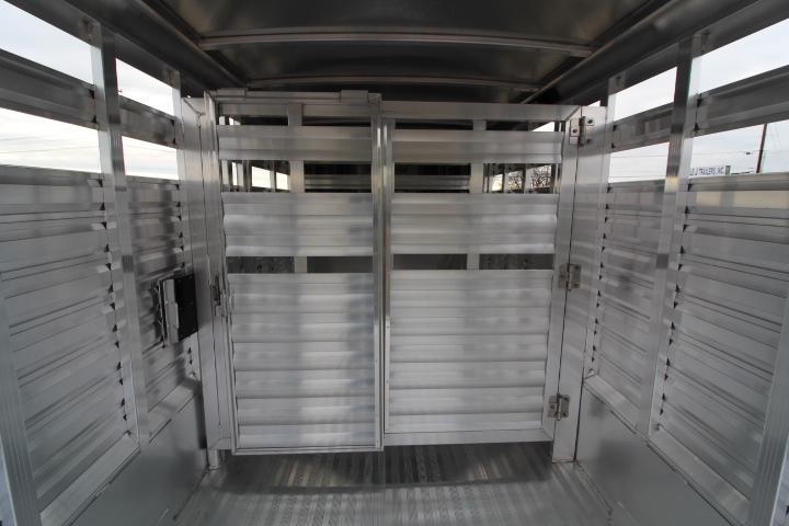 2021 Exiss Trailers 16' GN Stock Trailer-Slider in Rear-Escape Door Livestock Trailer