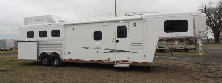 2021 Trails West 11' SW-8'W-3H-SIDE LOAD-Hay Rack-Gen Prep-Slideout-Mangers Horse Trailer