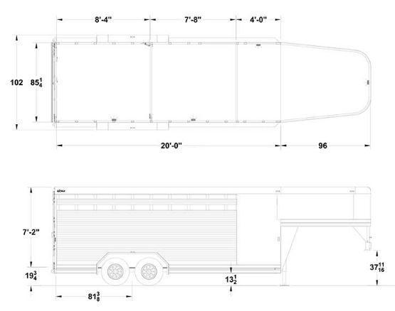 2021 Exiss Trailers 20' Stock Combo Trailer - Rubber Floor Mats - Adjustable Saddle Rack