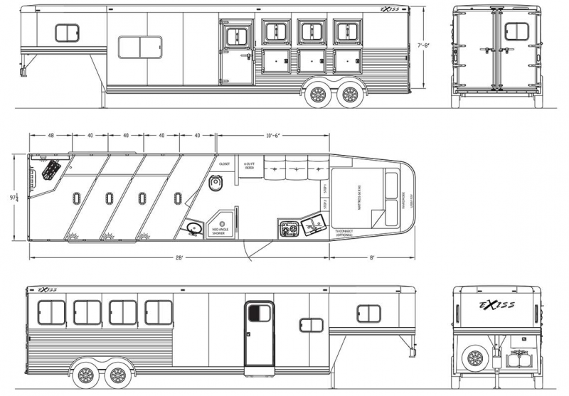 NEW 2019 Exiss Endeavor 8310 - 10' Short Wall Living Quarters 3 Horse Trailer - Upgraded Interior - Lined and Insulated Horse Compartment Ceiling - Tail Side Drop Windows - Sofa - Easy Care Flooring PRICE REDUCED $2850