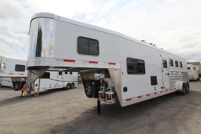 2020 Exiss Escape 7410 - 10' Short Wall Living Quarters 4 Horse Trailer Easy Care Flooring - Electric Awning - Sofa - Folding Rear Tack PRICE REDUCED $4095