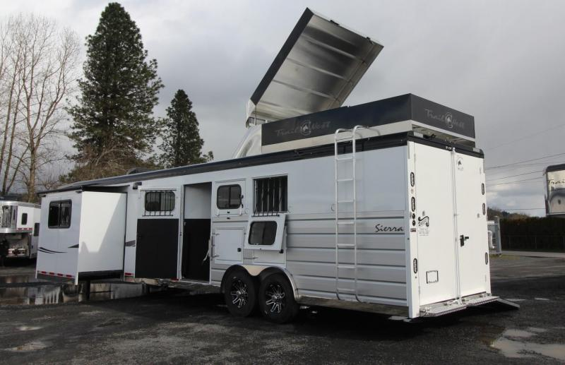 2019 Trails West Sierra 15x19 LQ Side Load w/ Ramp 3 Horse Trailer - Bunk Bed - Full Rear Tack