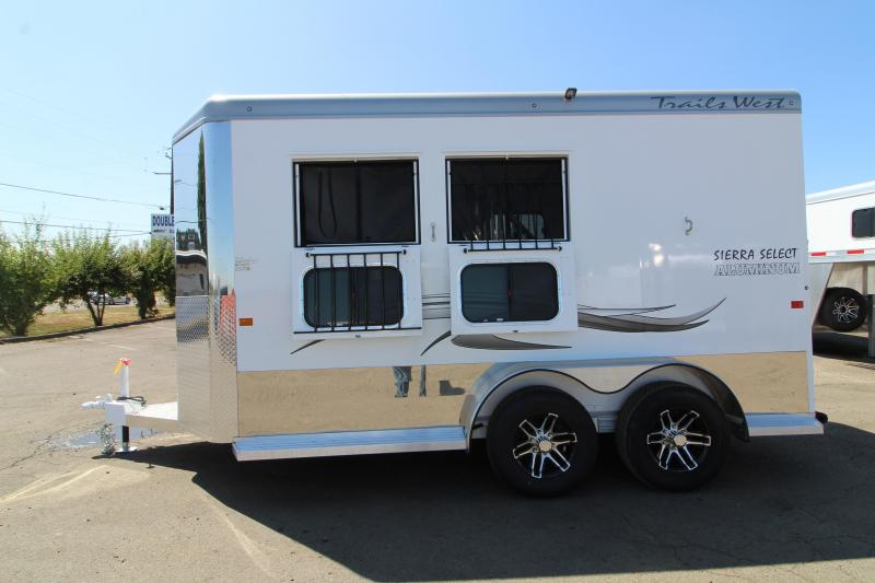 """2020 Trails West Sierra Select 2 Horse Trailer - 7'6"""" Tall - UPGRADED Floor Mats in Tack Room - Swing Out Saddle Rack - Vacuum Bonded Construction"""
