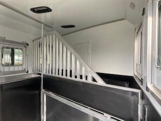2022 Bison Trailers Desperado 8' Wide LQ 8209B 2 Horse Trailer-Extruded Alum Sides-Lined and Insulated Horse Area Ceiling-AC-Power Awning