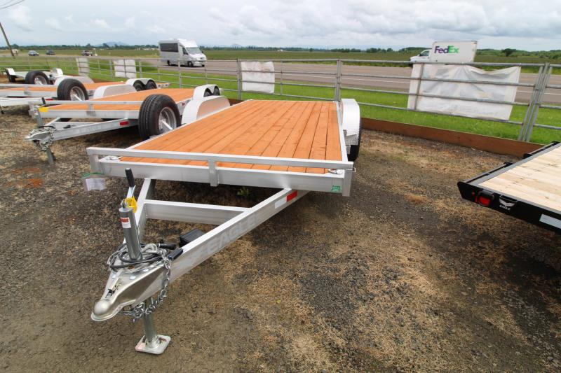 2020 Eagle 7' x 16' Aluminum Tandem Axle Flatbed Trailer 10K - Pressure Treated Wood Decking - Spare Tire - Removable Fenders