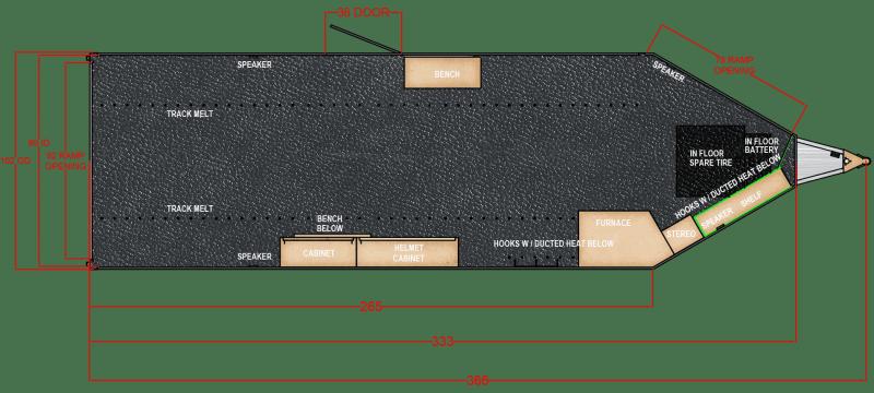 2021 Trails West RPM 28' Snowmobile Trailer BURANDT EDITION - ELECTRIC JACK - 14x14 CRANK UP VENT - BLACK PAINT