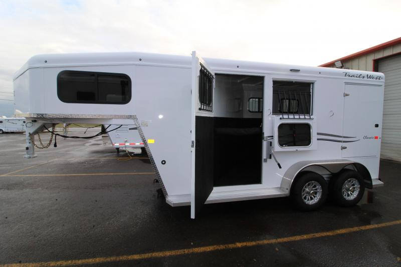 2021 Trails West 2 Horse GN Trailer-Escape Door-Broom Closet