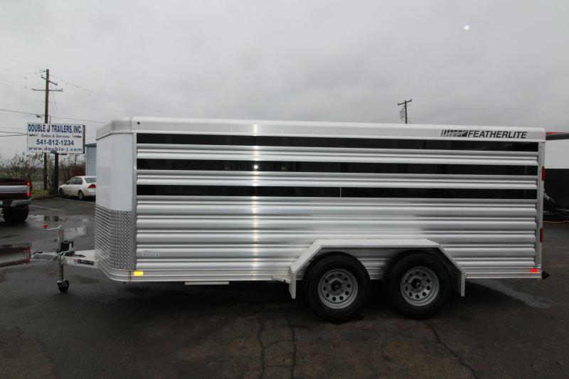 NEW 2019 Featherlite 8107 All Aluminum Livestock Trailer 16' Low Profile - Center Gate on Track Sliders for Adjustable Pen Sizes