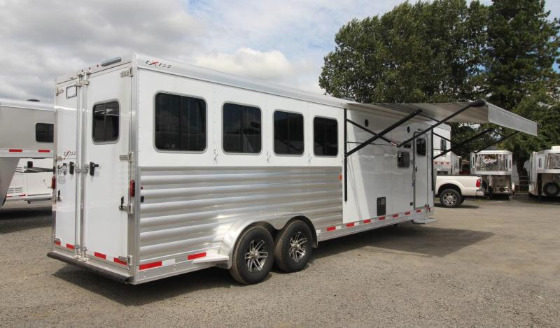 2020 Exiss Escape 7410 - 10' Short Wall Living Quarters 4 Horse Trailer PRICE REDUCED - Easy Care Flooring - Electric Awning - Sofa - Folding Rear Tack