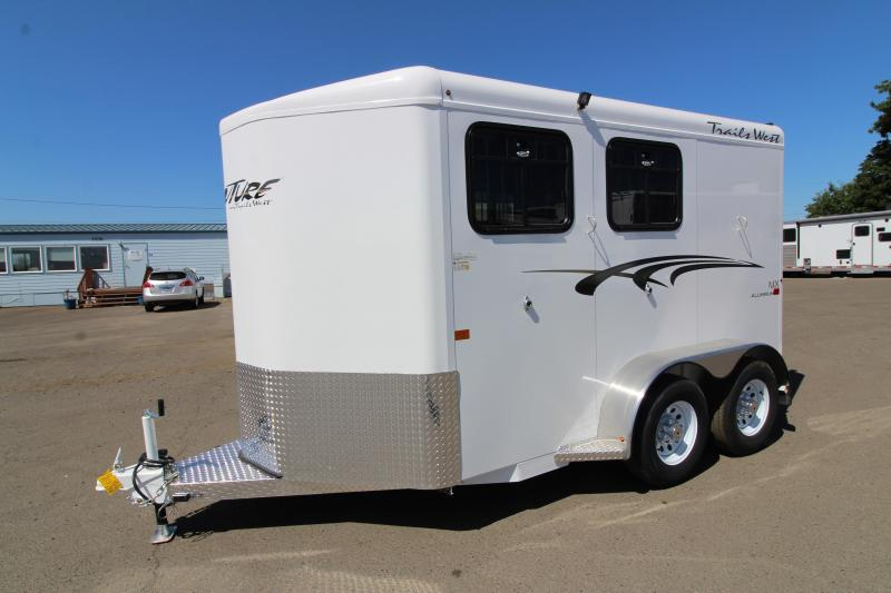 "2020 Trails West Adventure 2 Horse Trailer -  14"" Roof Vent - Drop Down Feed Windows - Rubber Floor Mats in Tack Area - 1 Piece Aluminum Roof PRICE REDUCED"
