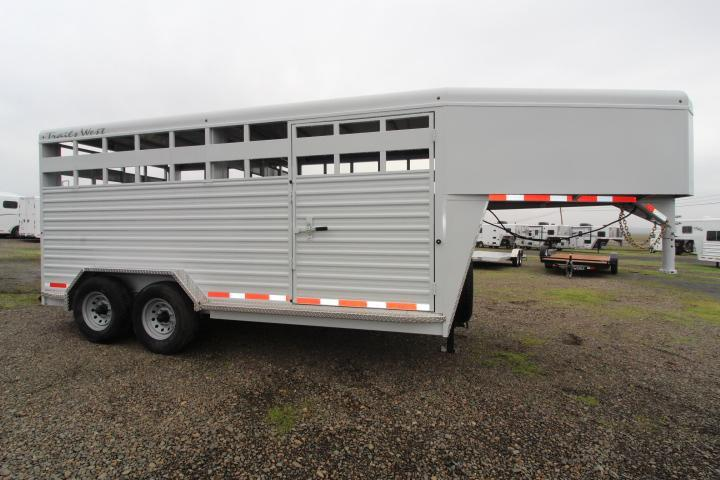 "2021 Trails West 20' Hotshot Stock Trailer-7'6"" Wide-Slider-Escape Livestock Trailer"