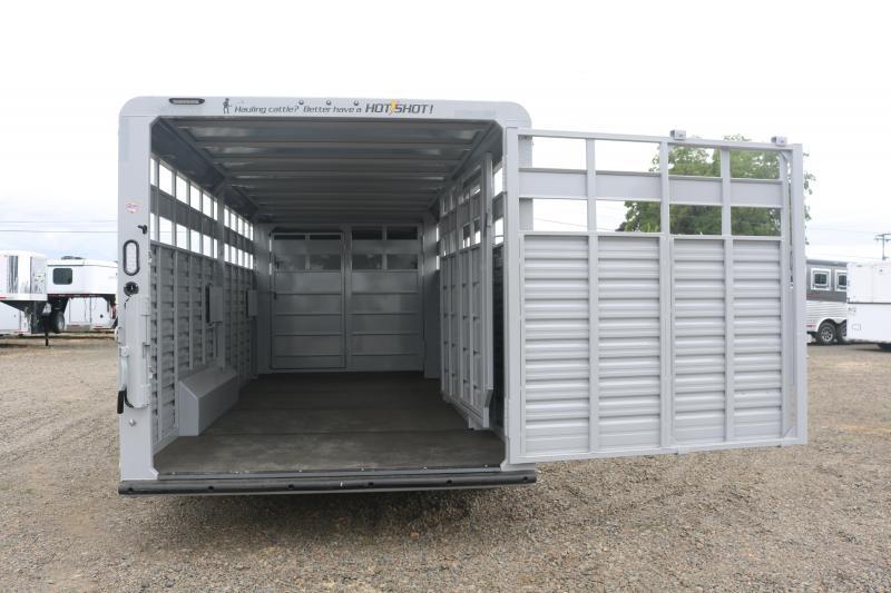 2022 Trails West 24' Hotshot - Escape Door - 7'6'' Wide - Slam Latch Rear Gate with Slider - Gooseneck Calf Gate