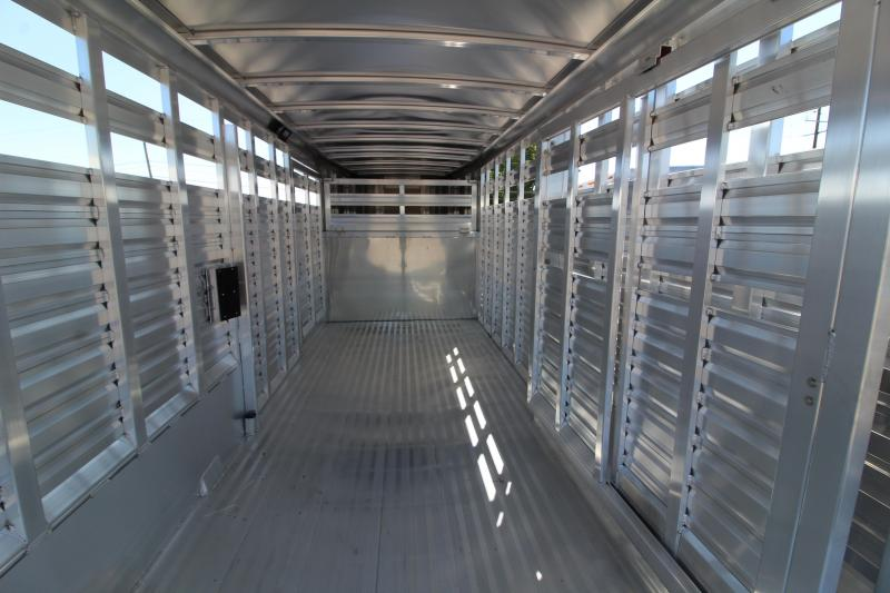 2020 Exiss STK 7020 Livestock Trailer - All Aluminum Construction - Full Swing Center Gate w/ Hold Back - Single Piece Aluminum Roof