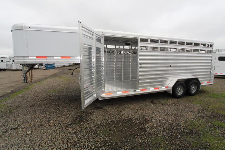 2021 Exiss 20' Stock Trailer-All Aluminum-Sliders in Gates-Escape Door