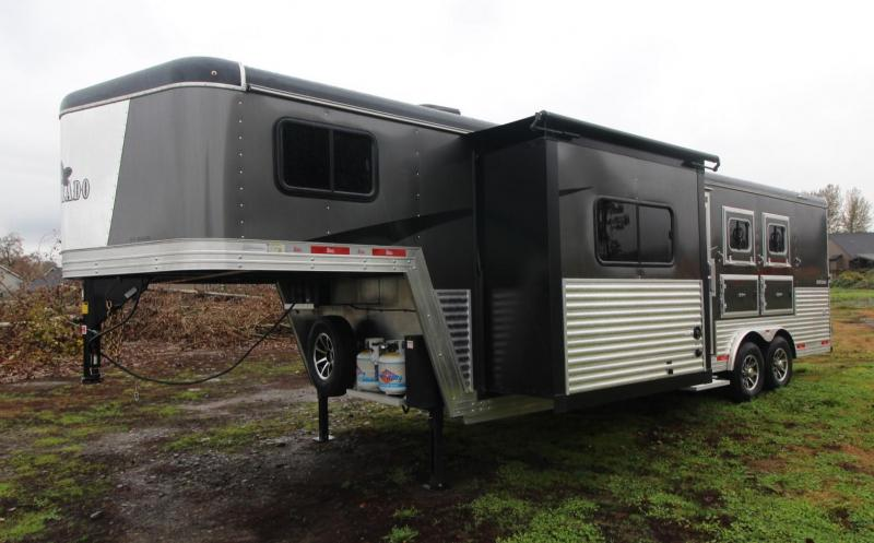2021 Bison 8309 LQ Horse Trailer - Slide Out - Dinette - Power Awning - Ducted AC - Mangers - Stud Wall