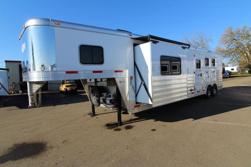 NEW 2019 Exiss 8314 - 3 Horse Trailer 14' Short Wall Living Quarters w/ Slide-out - All Aluminum - Power Awning - Mangers - Easy Care Flooring - Lined and Insulated Horse Area Ceiling  PRICE REDUCED $6000