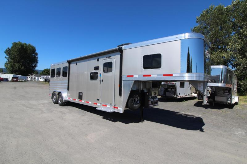 "2020 Exiss Escape 7310 3 Horse Trailer - Electric Awning - 28"" TV - Easy Care Floor"