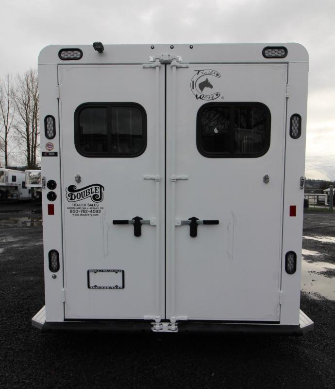 "2019 Trails West Sierra II 2 Horse Trailer - 7'6"" Tall - PRICE REDUCED $1000- Drop Down Feed Doors - Aluminum Skin"