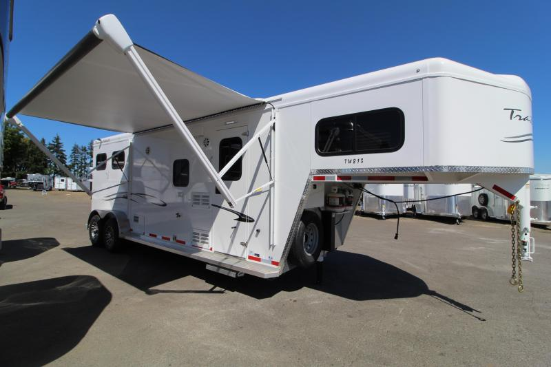 2020 Trails West Classic 8x13 Living Quarters 2 Horse Trailer-Swing Out Saddle Rack-Power Awning-Sofa-Hoof Grip Flooring