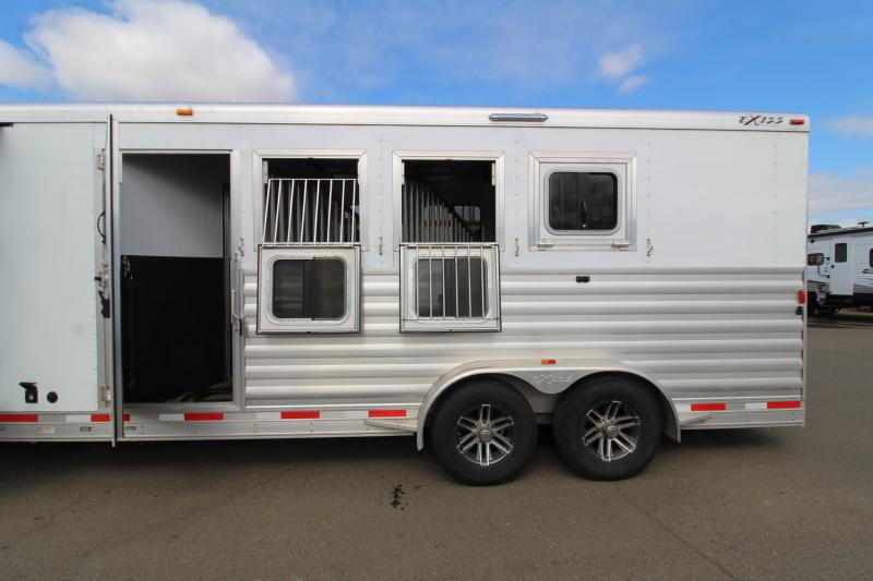 2018 Exiss 7410 10' Short Wall L.Q. with Slide-out and Dinette - 4 Horse All Aluminum Trailer - Easy Care Flooring - Power Awning - Stud Wall - First Stall Escape Door