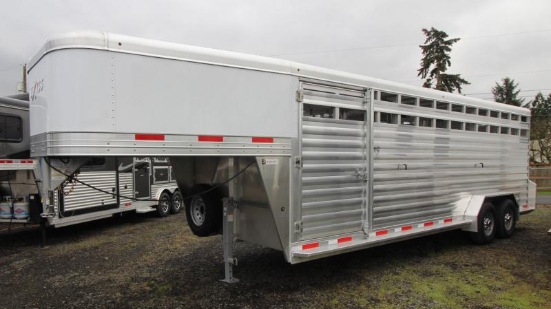 "2021 Exiss Trailers 7024 LIVESTOCK TRAILER 7'2"" TALL - 2 CENTER GATES Livestock Trailer"