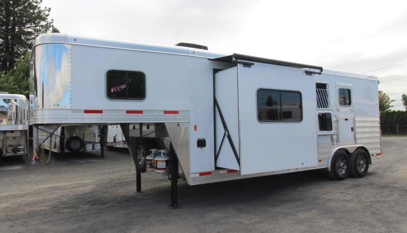2019 Exiss Trailers 8210 - 10' Short Wall Living Quarters w/ Slide-out 2 Horse Trailer - All Aluminum - Swing-out Saddle Rack - Easy Care Flooring - Lined and Insulated Horse Area Ceiling - Upgraded Interior  PRICE REDUCED $4000