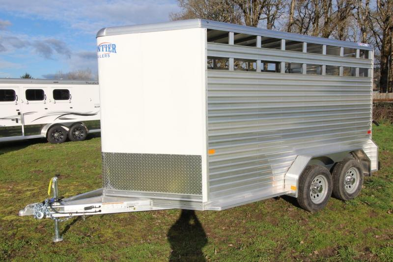 "2021 Frontier LITE 14'7"" STOCK - 7' TALL - BOLTED ON REAR DOOR Livestock Trailer"