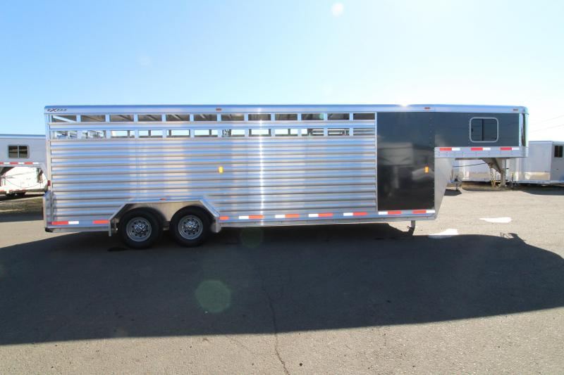 """NEW 2019 Exiss 7024 Stock Combo - 4' Enclosed Tack Room - All Aluminum Livestock Trailer - 7'2"""" Tall - Solid Center Divider Gate - Rear Gate with Slider PRICED REDUCED $650"""
