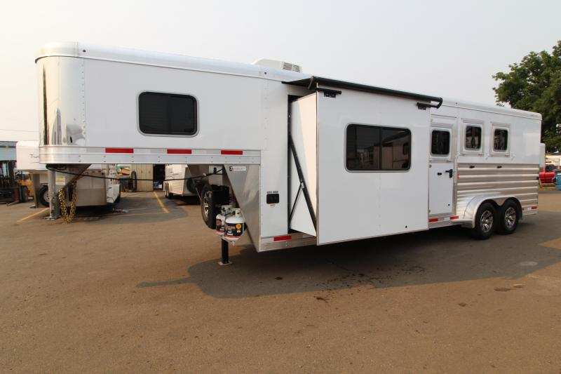 2021 Exiss 7310 Living Quarters 10' SW Slide Out Easy Care Flooring 3 Horse Trailer