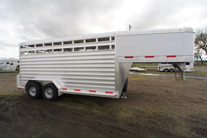 2021 Exiss 716 Stock Trailer-Center Gate-Sliders-Escape Door