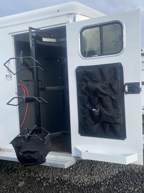 """2020 Trails West Sierra BP Warmblood 7'6"""" Tall 2 Horse Trailer-Swing Out Saddle Rack-Lined and Insulated Horse Area"""