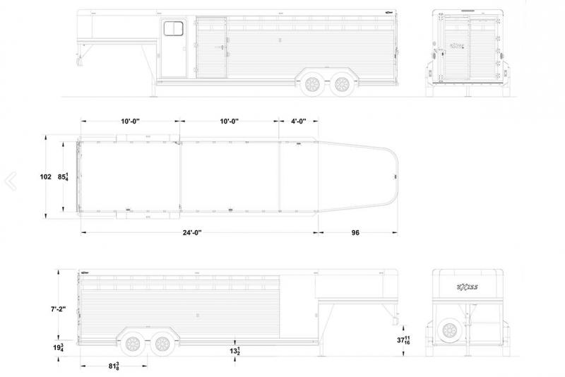 2021 Exiss 24' Stock Trailer-All Aluminum-Slider in Rear-Two Cut Gates-Escape Door