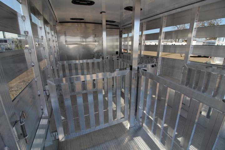 2021 Exiss Exhibitor 716A Stock Trailer-6 Removable Pens-Rear Ramp-Tack Room-Escape Door