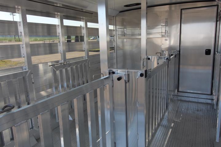 2021 Exiss Exhibitor 716A Stock Trailer-6 Removable Pens-Rear Ramp-Tack Room-Escape Door