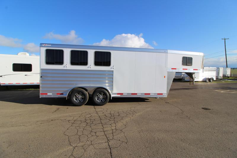 2020 Exiss 7300 3 Horse Gooseneck Trailer - Easy Care Flooring - Stud Wall - All Aluminum Construction