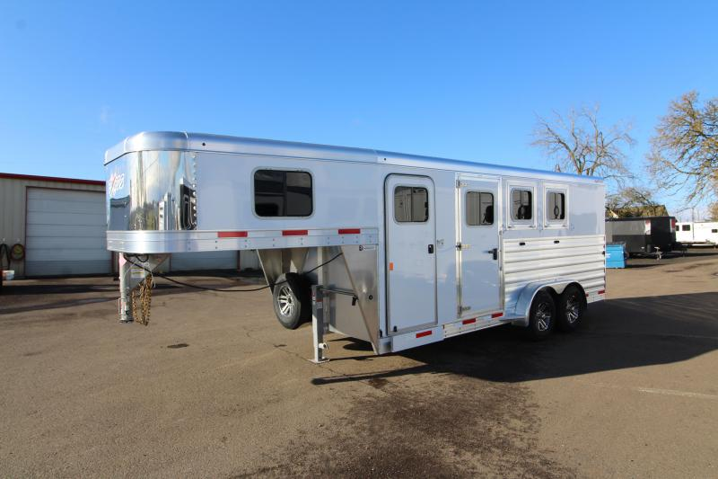 2021 Exiss 7300 3 Horse Gooseneck Trailer - Easy Care Flooring - Stud Wall - All Aluminum Construction