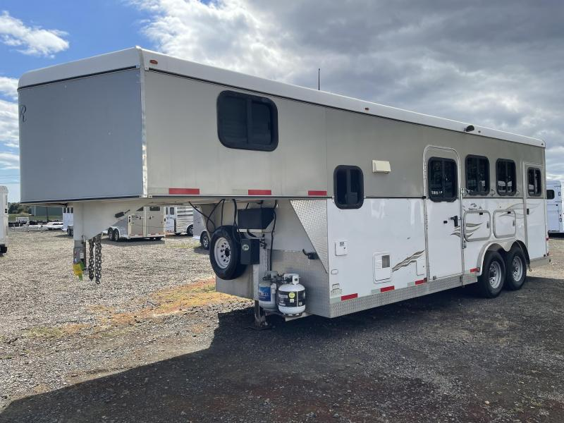 2008 R and R Trailers Weekender 3 Horse Trailer - Swing Out Saddle Rack - Side Tack - Manual Awning - Escape Door - Drop Down Windows & Bars - Stud Divider