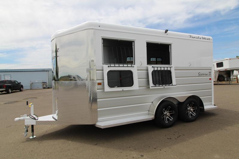 """2020 Trails West Sierra 2 Horse Trailer - Warmblood Size Stalls-7'6"""" Tall - Slant Load - Lined + Insulated Horse Compartment - Swing Out Saddle Racks"""