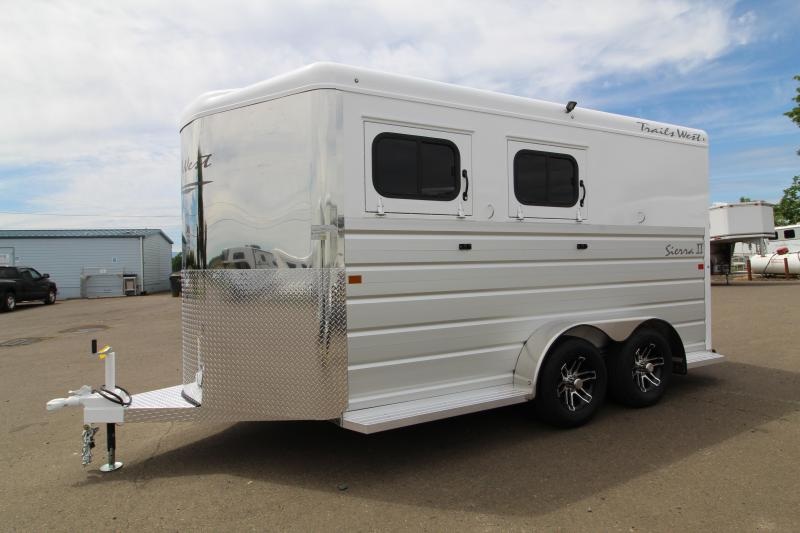 "2020 Trails West Sierra 2 Horse Trailer - Warmblood Size Stalls-7'6"" Tall - Slant Load - Lined + Insulated Horse Compartment - Swing Out Saddle Racks"