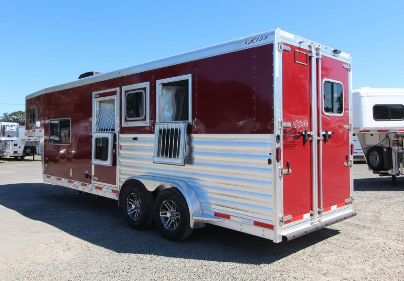 "2020 Exiss Escape 7308 3 Horse Trailer - Electric Awning - 28"" TV - Easy Care Floor"