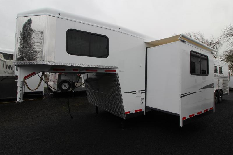 "NEW 2019 Trails West Sierra 13' x 13' Living Quarters Horse Trailer w/ Slide-out w/ Dinette - 4 Horse Trailer - Side Tack - Mangers - 8' Wide 7'6"" Tall - Easy Care Flooring"