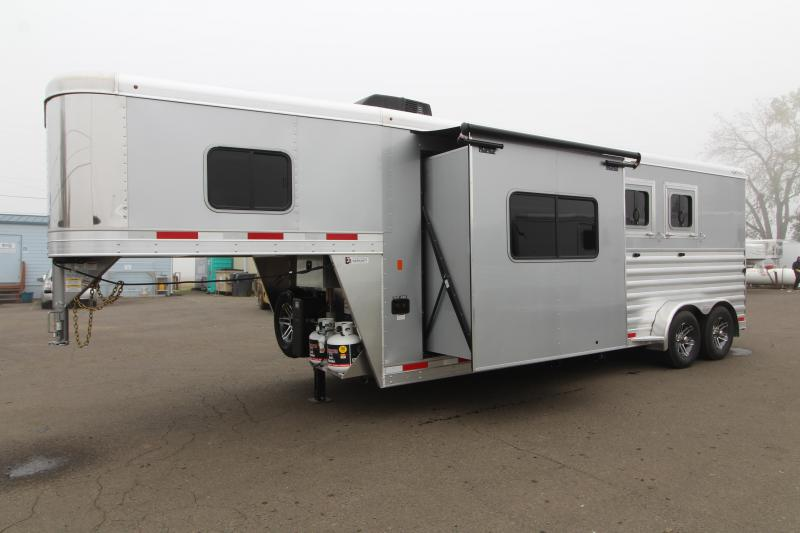 2020 Exiss Model 7210 2 Horse 10' Short Wall LQ All Aluminum Trailer. Dinette - Power Awning - Insulated Horse Area plus Easy Care Flooring!