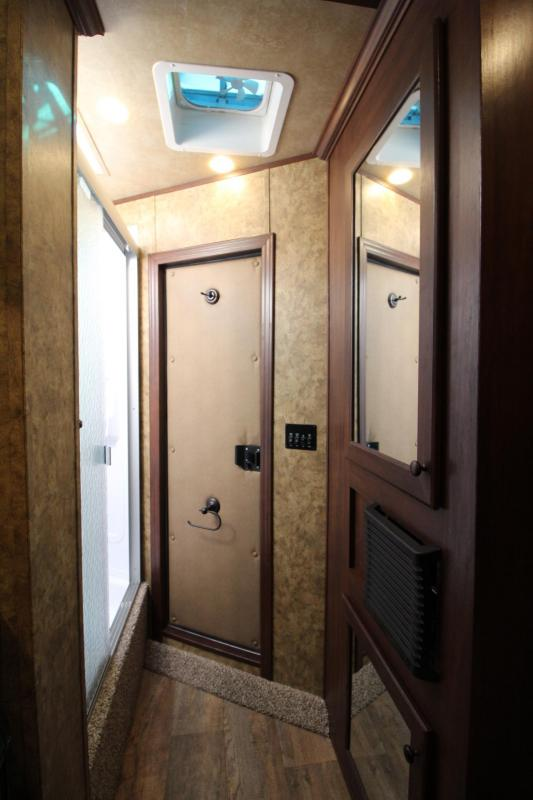 2020 Exiss Escape 7304 - 4' Short Wall Living Quarters 3 Horse Trailer - Power Awning - Escape Door - Polylast Flooring