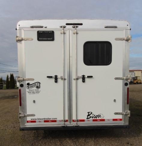 2021 Bison 8313 Desperado 3 Horse Trailer-13' Short Wall-Couch on Drop Wall-Dinette in Slide-All Aluminum-Airflow Dividers